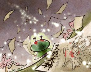 Issun spreading leaflets, explaining who Ammy truly is: Sun Goddess Amaterasu