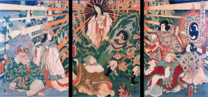 Old Japanese painting of Amaterasu emerging from a cave.