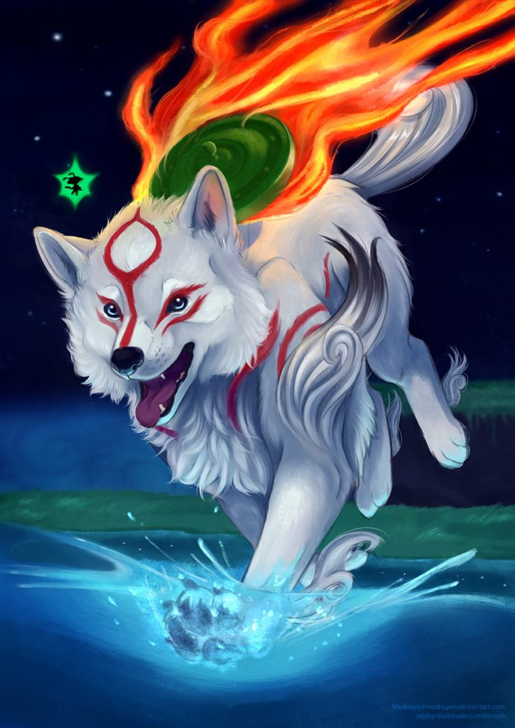 Ammy walking into shallow water, appears determined and in high spirits, Issun above her head, night time, dark sky