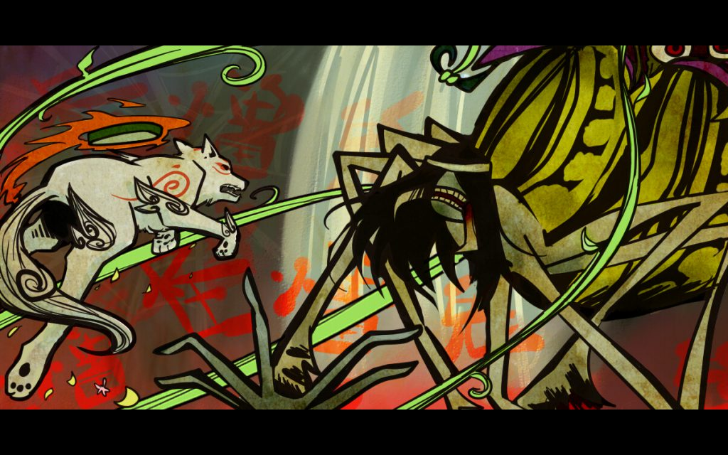 Ammy and the Spider Queen facing each other, in combat.