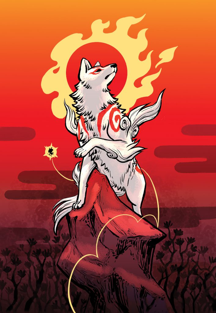 Ammy standing regally on a high peak, head towards the sky and flaming sun behind her. Issun is nearby.