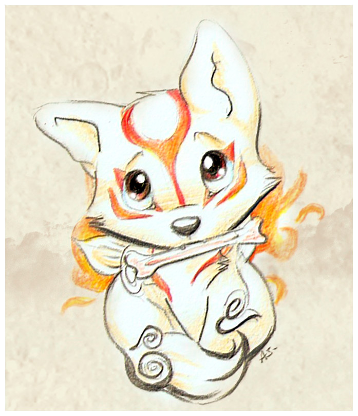 Drawn in a Chibi-style: Ammy with a Holy Bone in her mouth, looking up with puppydog eyes.