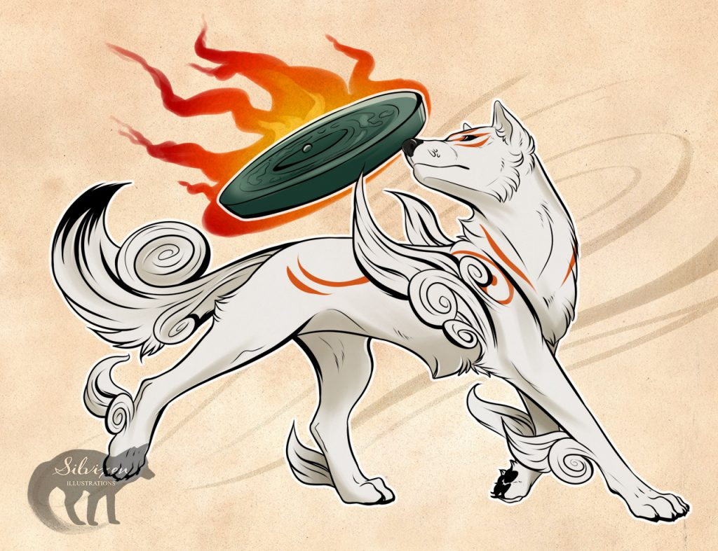 Ammy in a powerful regal pose, looking behind her, flaming Divine Instrument floating above her back.