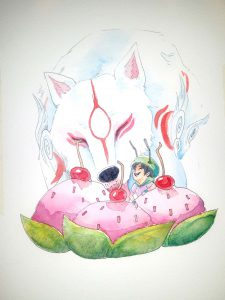 Ammy eating cherry cakes with her eyes closed. Issun is enjoying the scene, and appears to be laughing heartily.