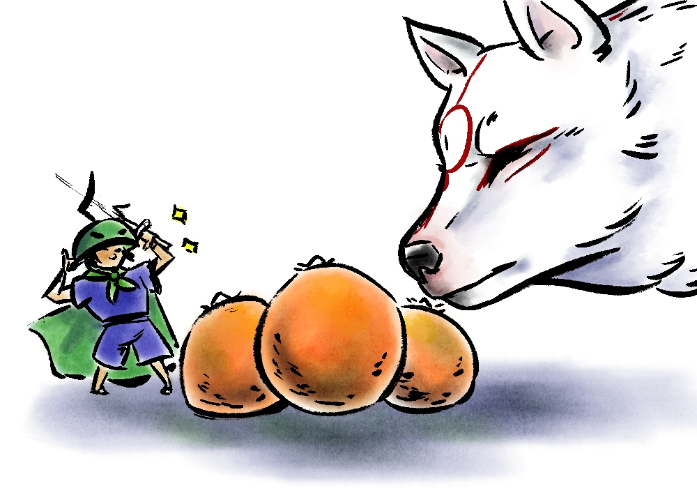 Ammy closely inspecting a pile of oranges. Issun appears to like them.