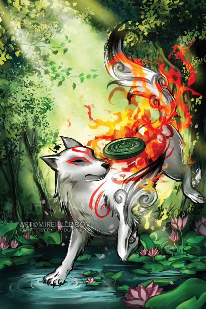Ammy walking through a forest, small water stream beneath her paws, sunlight shining through the canopy