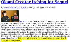 """Article with title: """"Okami Creator Itching for Sequel"""" - some text highlighted."""