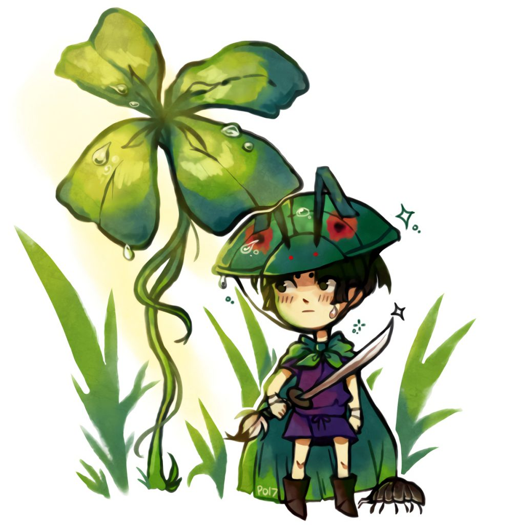 Issun, his sword drawn, is standing next to a 4-leaf clover, and he is looking towards something.