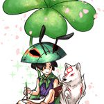 Issun and Ammy resting beneath a four-leaf clover, issun is writing.