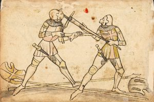 Page of the Codex Wallersteing - showing longsword combat technique.