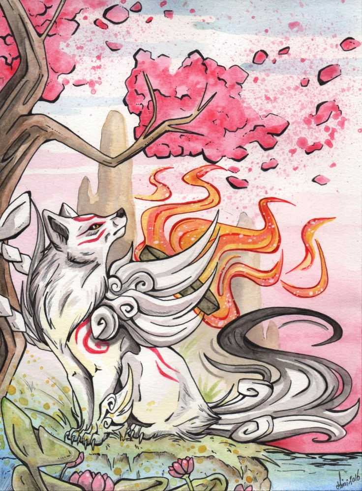 Ammy sitting beneath a tree, watching as a gust of wind blows away some blossoms