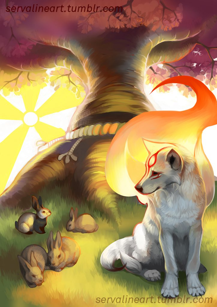 Ammy sitting peacefully beneath a Guardian Sapling, and observing nearby rabbits feeding