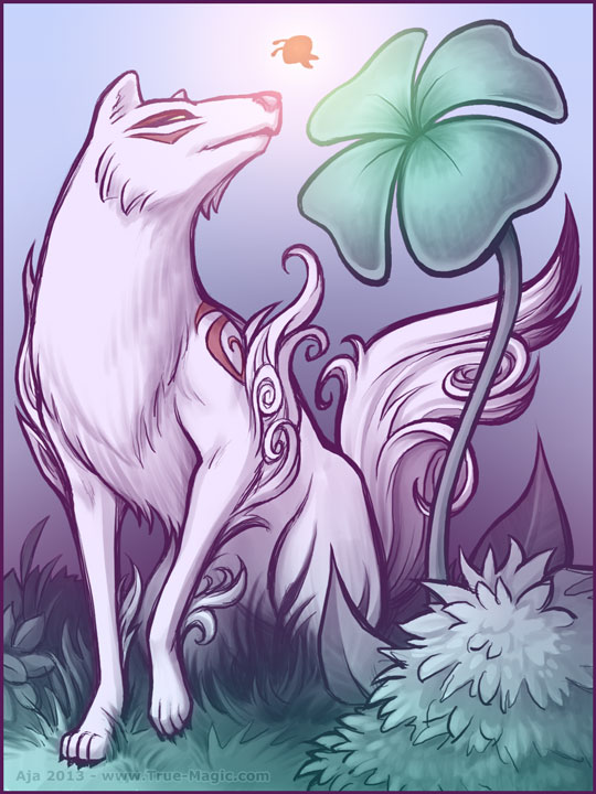 Ammy walking through lush scenery, Issun near her nose, she is looking towards a large 4-leaf clover. Appears to be a night-time scene.