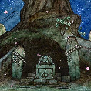 Official art showing Shiranui's statue, and the shrine dedicated to her.