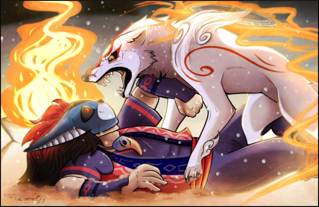 Very angry Ammy, pinning down human-form Oki, likely after he had attacked her.