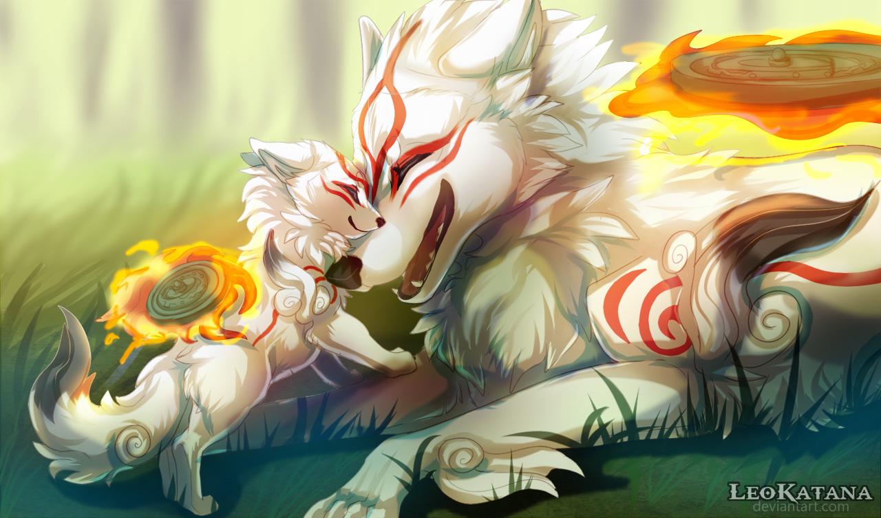 Ammy and her puppy-son Chibiterasu cuddling happily.