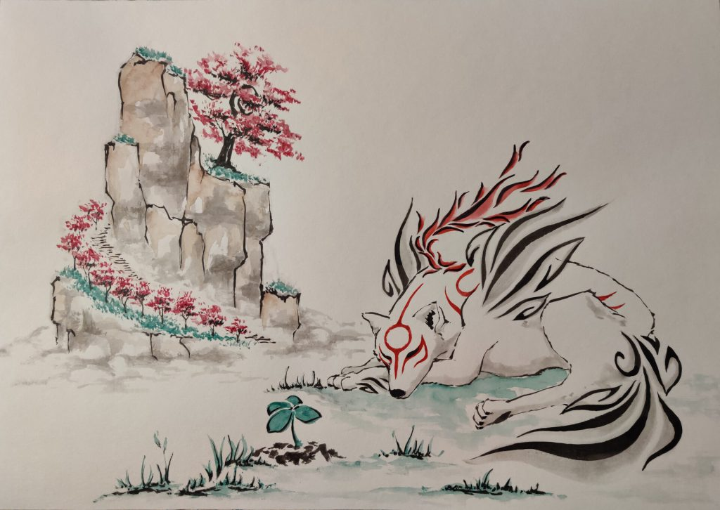 Drawing of Ammy resting, looking towards a 4-leaf clover, mountain and trees in background.