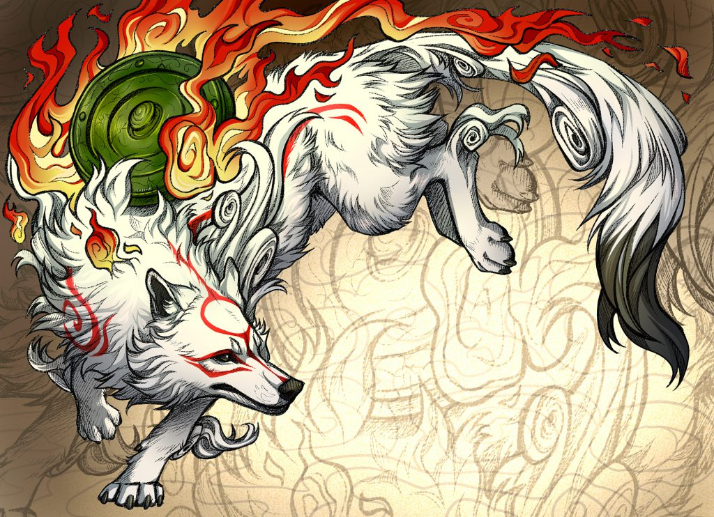A regal and dutiful depiction of Ammy landing from a jump, turning towards the direction from which she came.