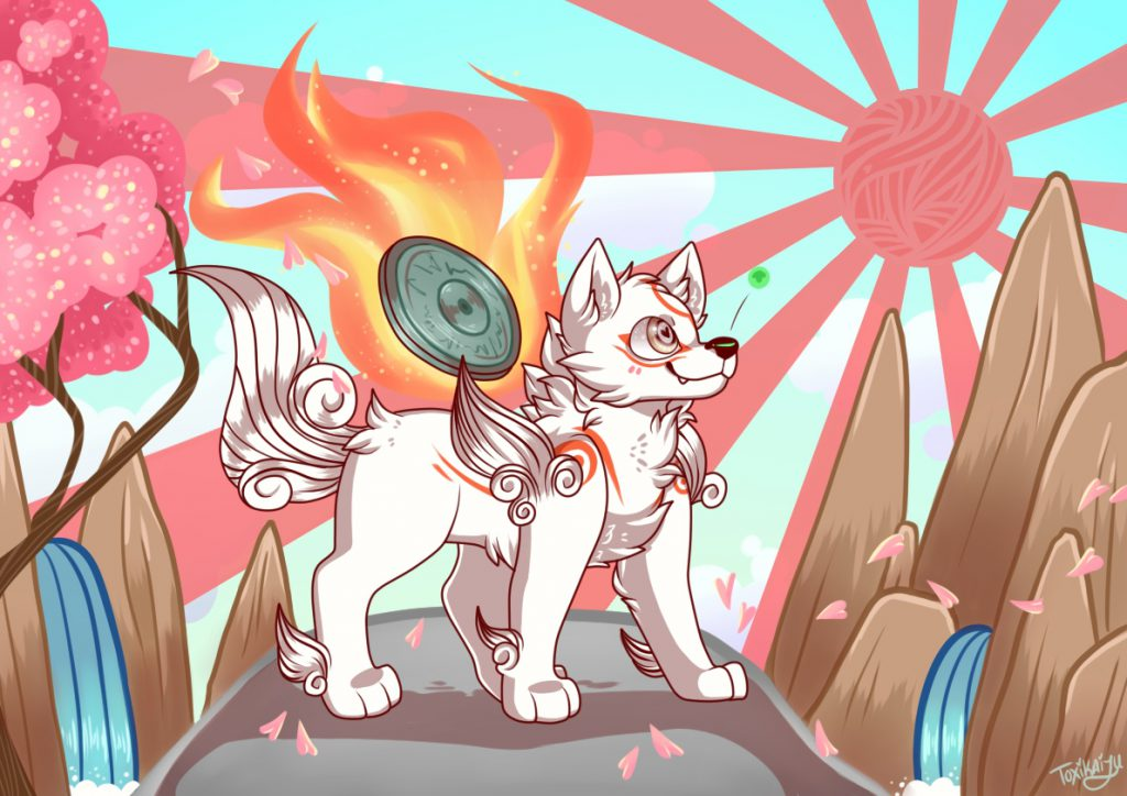 Drawn in a more cartoonish style: Ammy standing on a hill with sun in the sky, waterfall and trees surrounding her beneath