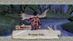 "Okami game screenshot: Waka says ""Au revoir, baby!"""