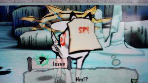 Okami game screenshot: Ammy wearing imp mask disguise.