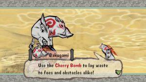 Okami game screenshot: Bakugami, granting Ammy Cherry Bomb power.