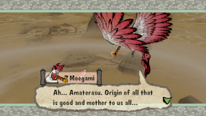 """Okami game screenshot: Moegami calls Ammy """"mother to us all"""".."""