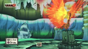 Okami game screenshot: Moment before melting ice with Inferno brush technique.