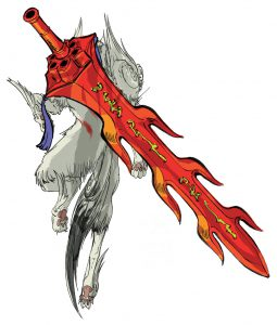 Ammy with the Seven Strike glaive on back.