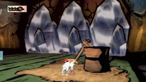 Okami screenshot: Ice blocking path in Moon Cave level of Okami.