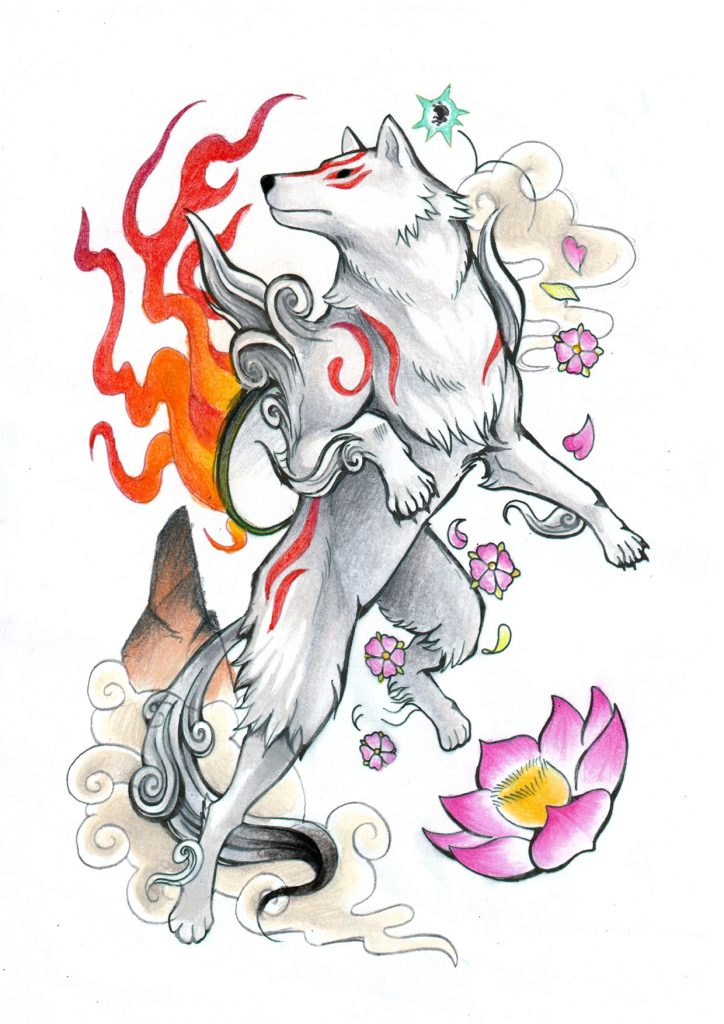 Ammy regally leaping high through the air, surrounded by flowers.