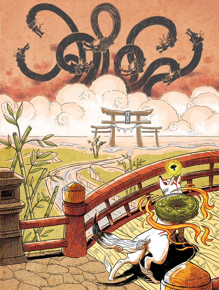 Ammy on a bridge, looking towards the 8 angry heads of Orochi in the distance. Issun is with Ammy. She appears to be heading for battle.