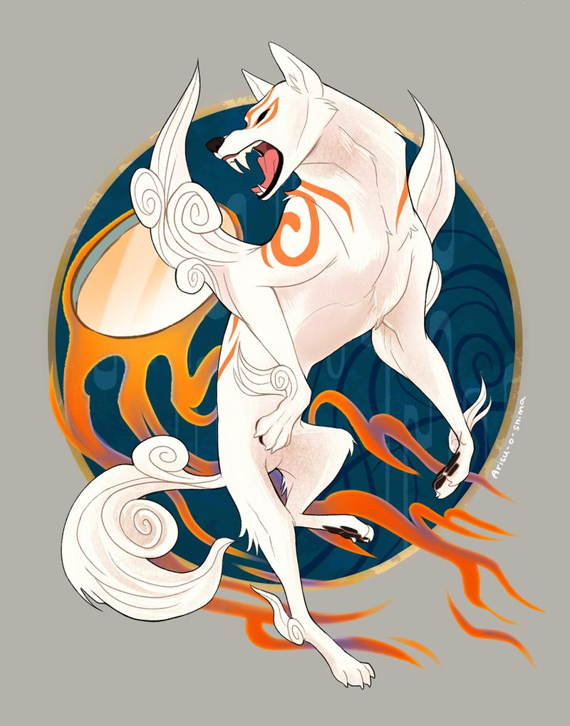 Ammy mid-air in a powerful leap, looking behind her and snarling, flaming Divine Instrument behind her.