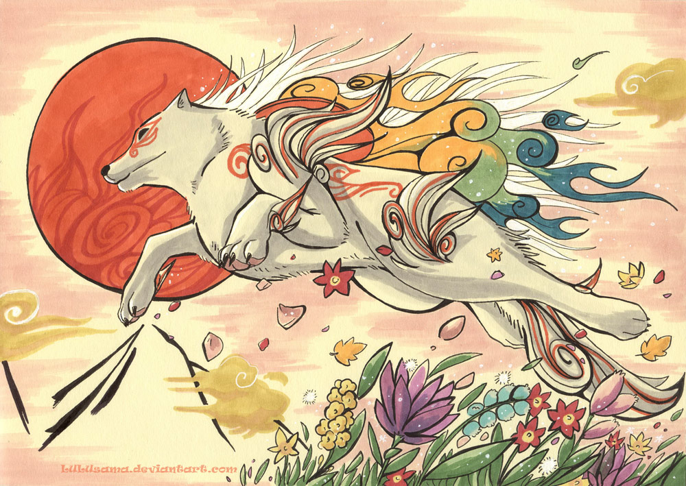 Shiranui leaping through the air, beautiful flowers beneath her, large sun in the sky.