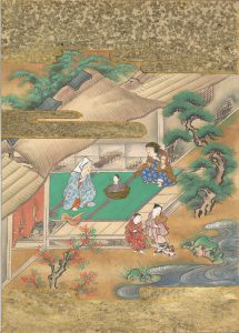 """Japanese painting depicting a scene from the """"Tale of the Bamboo Cutter"""""""