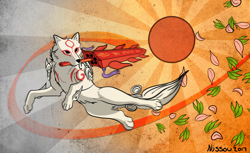 Ammy bounding through the air, swinging a glaive in her mouth, sun shining brightly above.