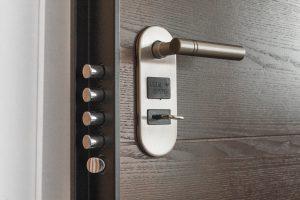 heavy door with very secure lock