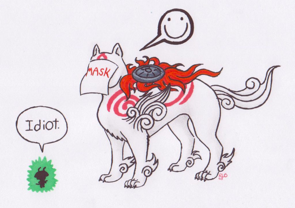 """Drawing of Ammy wearing canvas mask, with word """"mask"""" written on it. Issun looking at it, calling Ammy """"idiot"""". Ammy has smiley face above her head."""