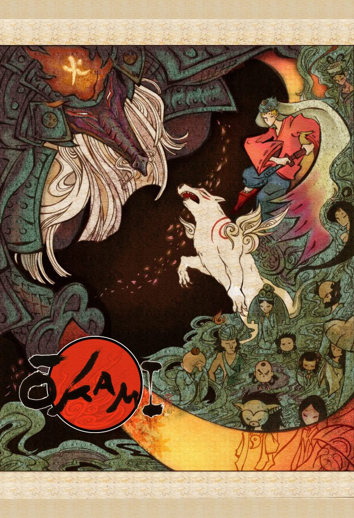 Stylised scene depicting Ammy leaping towards a monster, Waka behind her, and an apparition of many people that Ammy had met previously, with their heads down in prayer.