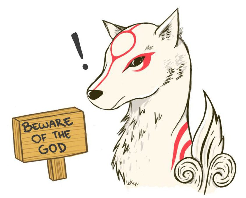 """Amaterasu sitting in front of a """"Beware of the God"""" sign - apparently she seems surprised by this sign."""