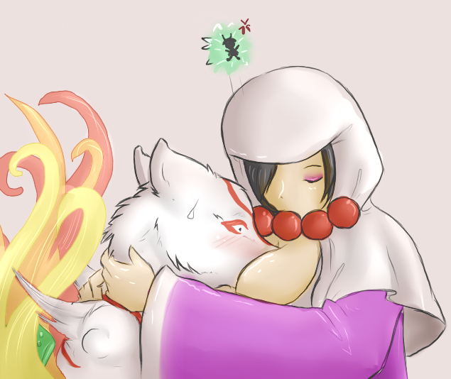 Rao presses Ammy towards her bosom in a (goodbye or hello) hug, Ammy and Issun are quite surprised.