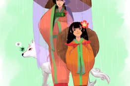 A young woman and her child sister, observing sudden rain that Ammy (who is standing behind them with a smile on her face) has created.