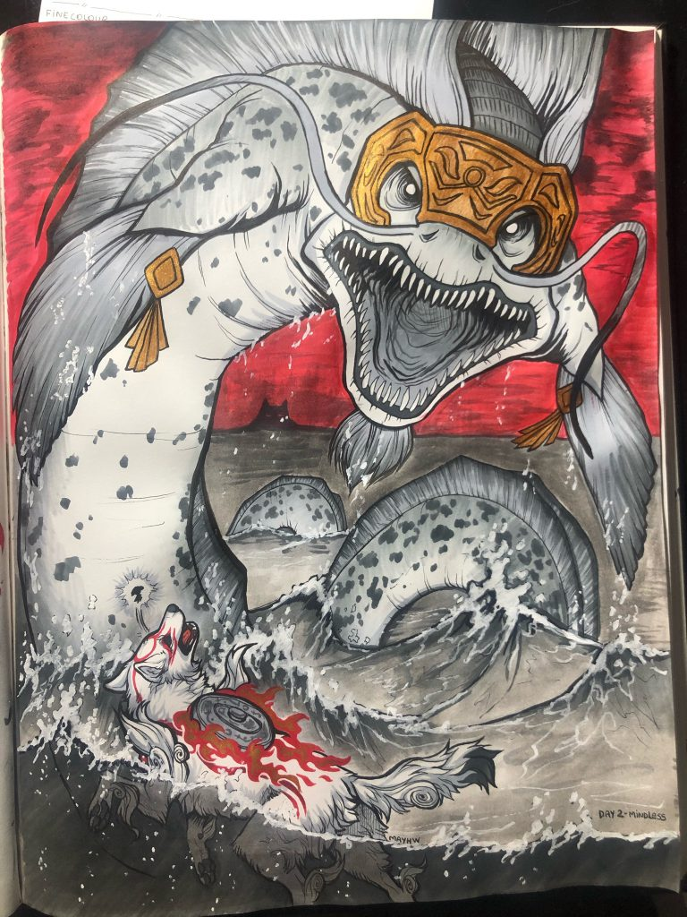 Ammy swimming in the water, shocked expression, rampaging water dragon with gaping mouth full of teeth is rising above her.