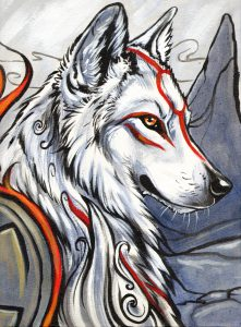 Portrait of Ammy, calmly sitting at the top of a mountainous region, looking towards her right