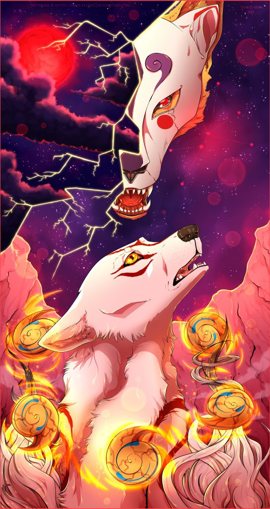 Digital painting of Ammy below, looking into the sky with a distraught expression, masked head of Ninetails in the ominous-looking night sky above.