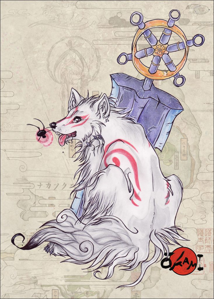 """Ammy sitting, facing forward but looking back at viewer, she is scratching herself with her hind paw and appears to be in very high spirits and relaxed. Issun and Ammy's massive glaive """"Eighth Wonder"""" are next to her"""