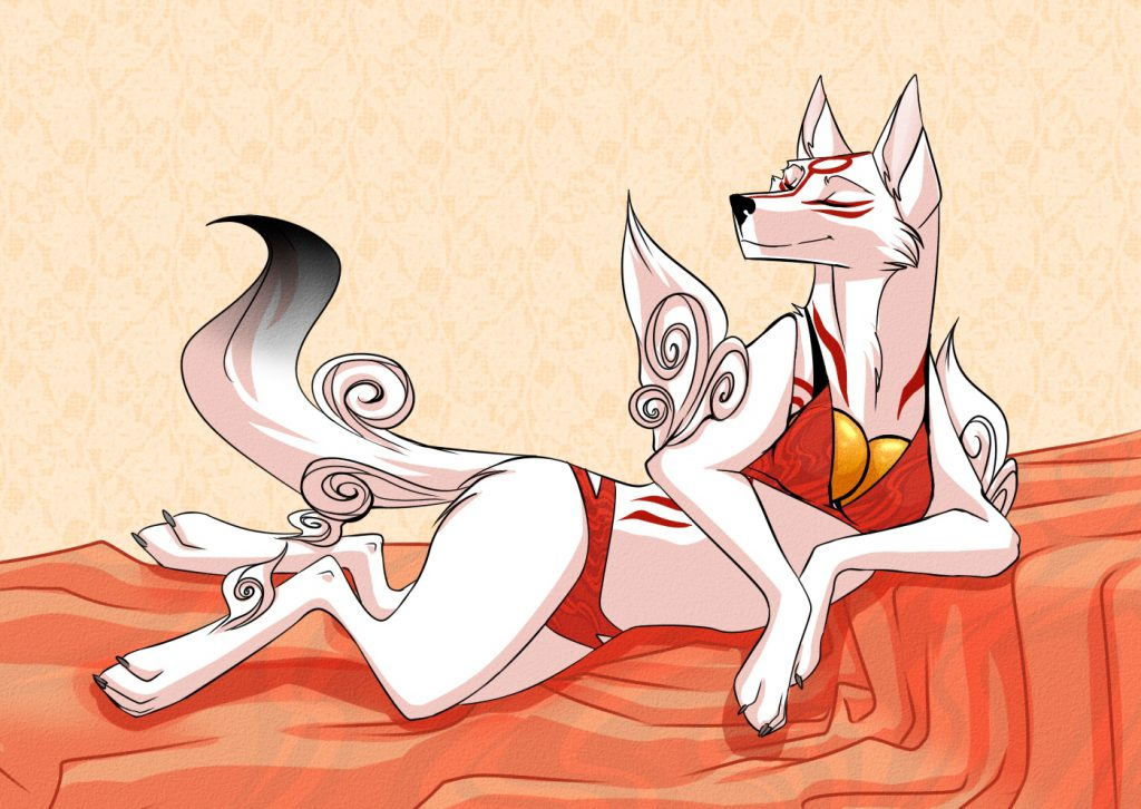 Ammy with a proud smile on her face, posing in human underwear, like a supermodel would.