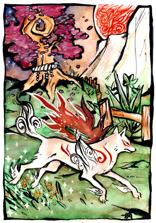 Ammy running through a grassy field, Guardian Sapling tree in the background, large sun in the sky.
