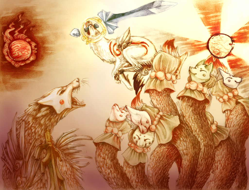 Ammy holding a glaive in her mouth, jumping over her snarling enemy Ninetails, Ammy is about to strike with the glaive.