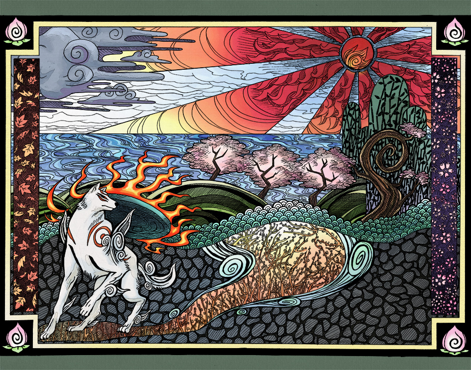 Stylised coloured drawing of Ammy looking behind her, towards the rising sun.